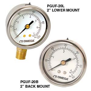 Liquid-Fillable Utility pressure Gauges - order online | PGUF-25B-100PSI/7BAR