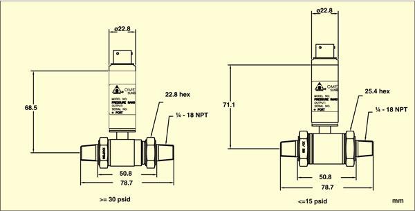 Dimensiones del sensor de presión diferencial PX409-WDDIF