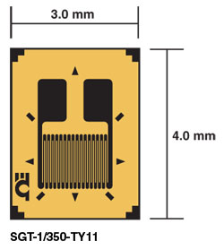 Linear Strain Gages, Transducer Quality, Uniaxial | SGT-2C/350-TY11