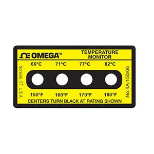 Non-Reversible OMEGALABEL™ Temperature Monitors, 4 Temperatures Per Label | 4A-(*),4B-(*) and 4C-(*)