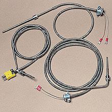 Termopares estilo bayonera con cable blinado de acero inoxidable | Serie BT