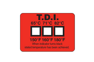 Three point temperature labels provide a permanent record of maximum temperature achieved in Dishwashers and other wash cycles | TL-TI Non-Reversible Temperature Labels